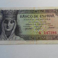 Billetes españoles: BILLETE 5 PESETAS 1943 EBC SERIE G. Lote 56316117