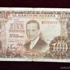 Billetes españoles: BILLETE DE 100 PESETAS DEL AÑO 1953. JULIO ROMERO DE TORRES. Lote 56381181