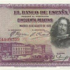 Billetes españoles: BILLETE 50 PESETAS, VELÁZQUEZ. Lote 56408631