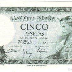 Billetes españoles: BANCO DE ESPAÑA 5 PESETAS 1954 PLANCHA ALFONSO X EL SABIO. Lote 195308856