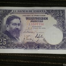 Billetes españoles: 25 PESETAS 1954 SERIE L EBC++. Lote 56820116