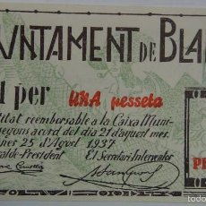 Billetes españoles: BILLETE BLANES. 1 PESETA. 1937. SIN CIRCULAR. SIN SERIE. REPÚBLICA ESPAÑOLA. GUERRA CIVIL. Lote 56899710