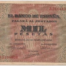 Billetes españoles: 1000 PESETAS DE 1938 BURGOS/REV PÚLPITO DE S. AGUSTIN SERIE A-808. Lote 57167260