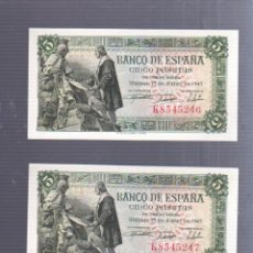 Billetes españoles: TRIO DE BILLETES CORRELATIVOS. CINCO PESETAS. 1945. MADRID. Lote 57318696