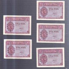 Billetes españoles: CONJUNTO DE 5 BILLETES CORRELATIVOS. UNA PESETA. 1937. BURGOS.. Lote 57318945