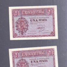 Billetes españoles: CONJUNTO DE DOS BILLETES CORRELATIVOS. UNA PESETA. 1937. BURGOS.. Lote 57318950