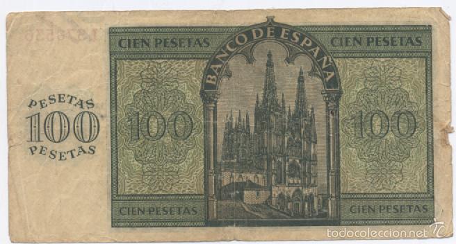 Billetes españoles: 100 PESETAS-BURGOS 21 DE NOVIEMBRE DE 1936 - Foto 2 - 57348248