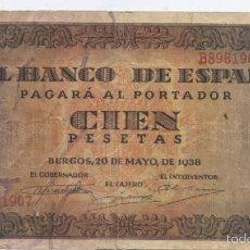 Billetes españoles: 100 PESETAS-BURGOS 20 DE MAYO DE 1938. Lote 175164875