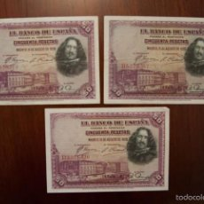 Billetes españoles: LOTE 3 BILLETES DIFERENTES SERIES 50 PESETAS 1928 (VELÁZQUEZ). MBC. Lote 57608500