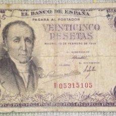 Billetes españoles: 25 PESETAS DEL 1946 - FLOREZ ESTRADA. Lote 57648896