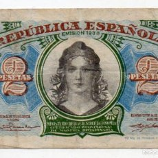 Billetes españoles: REPÚBLICA ESPAÑOLA. 2 PESETAS. EMISIÓN 1938.. Lote 57954991
