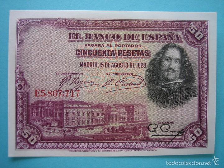BILLETE - CINQUENTA 50 PESETAS 15 AGOSTO 1928 - SERIE E - SIN CIRCULAR - PLANCHA (Numismática - Notafilia - Billetes Españoles)