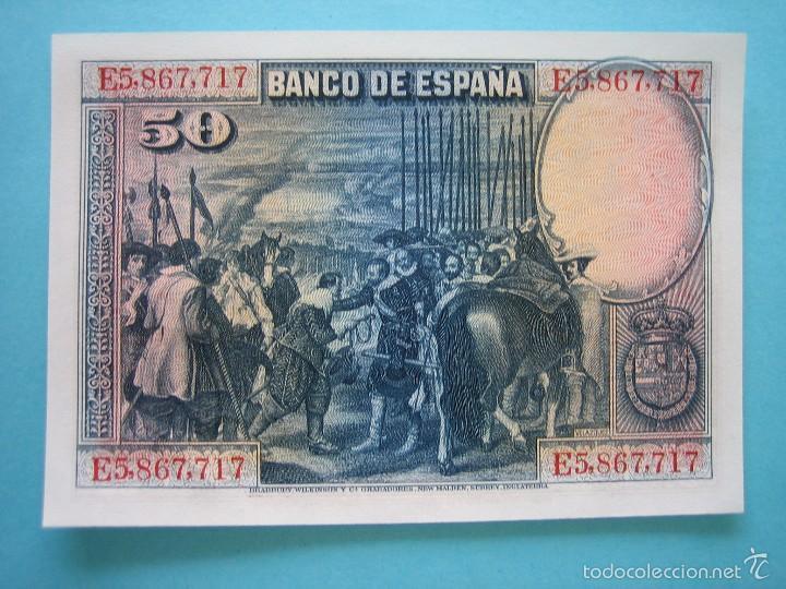 Billetes españoles: BILLETE - CINQUENTA 50 PESETAS 15 AGOSTO 1928 - SERIE E - SIN CIRCULAR - PLANCHA - Foto 2 - 58241244