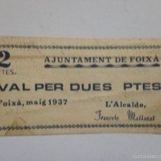 Billetes españoles: BILLETE 2 PESETAS. FOIXÁ. 1937. REPÚBLICA ESPAÑOLA. GUERRA CIVIL. SIN SERIE. SIN CIRCULAR. Lote 58270875