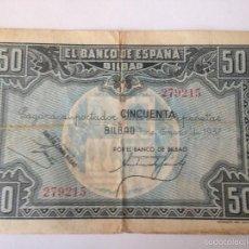 Billetes españoles: BILLETE 50 PESETAS. 1937. BILBAO. REPÚBLICA ESPAÑOLA. GUERRA CIVIL. SIN SERIE. BANCO DE BILBAO. Lote 58400635