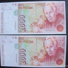 Billetes españoles: PAREJA CORELATIVA BILLETE 2000 PESETAS ESPAÑA SERIE A SIN CIRCULAR. Lote 58428553