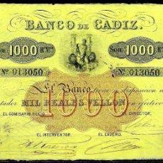 Billetes españoles: 1000 REALES VELLON BANCO DE CADIZ (ND) S/C-. Lote 58627106