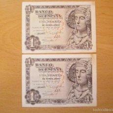 Billetes españoles: 1 PESETA DE 1948 PAREJA CORRELATIVA SERIE A-691/692 (ESCASAS).. Lote 59723155