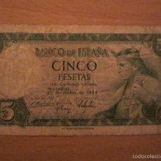 Billetes españoles: 5 PESETAS DE 1954 SERIE R-946. Lote 59725915