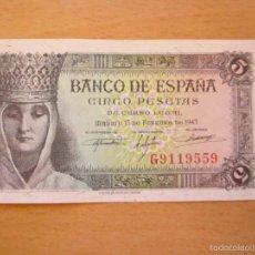 Billetes españoles: 5 PESETAS DE 1943 SERIE G-559 ISABEL. Lote 59794288
