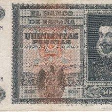 Billetes españoles: BILLETE DE 500 PESETAS DE JUAN DE AUSTRIA DEL 9 DE ENERO DE 1940 EN BUENA CALIDAD. Lote 231701205