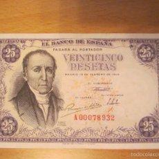 Billetes españoles: 25 PESETAS DE 1946 SERIE A-932 (SERIE MUY RARA Y NUMERO MUY BAJO). Lote 59998051