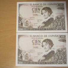 Billetes españoles: 100 PESETAS DE 1965 SIN SERIE PAREJA CORRELATIVA 069/070 SC- RAROS. Lote 60000611