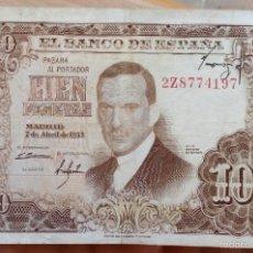 Billetes españoles: INTERESANTE BILLETE DE 100 PESETAS CON ERROR FIRMA DEL CAJERO ARRIBA AÑO 1953. Lote 60265695