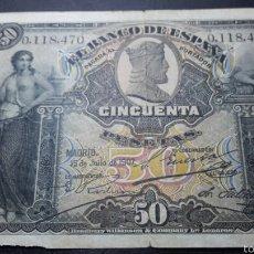 Billetes españoles: BILLETE 50 PESETAS 1907 SELLO SECO EN MBC. Lote 60466565