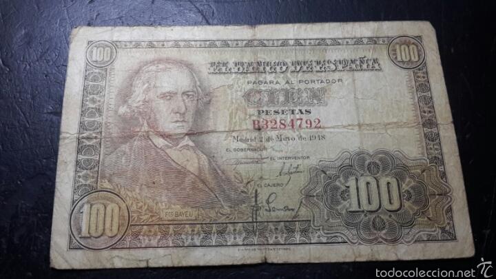 BILLETE 100 PESETAS DE 1948 FRANCISCO BAYEU (Numismática - Notafilia - Billetes Españoles)