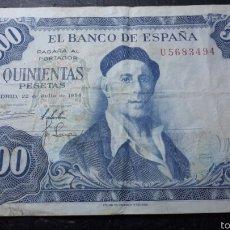 Billetes españoles: BILLETE 500 PESETAS 1954 ZULOAGA EN MBC+++. Lote 131015656