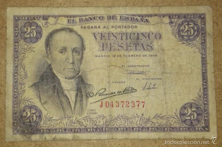 ESPAÑA - 25 PESETAS DEL AÑO 1946 - SERIE J - FLOREZ ESTRADA (Numismática - Notafilia - Billetes Españoles)