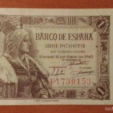 Billetes españoles: 1 PESETA 1945 SIN CIRCULAR- - ESTADO ESPAÑOL - UNA PTA SC-. Lote 154200294