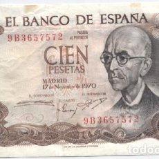Billetes españoles: 100 PESETAS-17-11-1970-SERIE ESPECIAL-9B. Lote 61491971