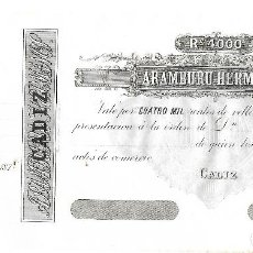 Billetes españoles: CADIZ. BANCA ARAMBURU HERMANOS. 4000 REALES DE VELLON. 1870. SIGLO XIX. VER. Lote 61730572