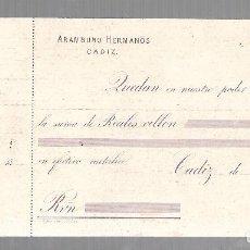 Billetes españoles: CADIZ. BANCA ARAMBURU HERMANOS. 1870. SIGLO XIX. RECIBO DE DEPOSITO BANCARIO. VER. Lote 61730956