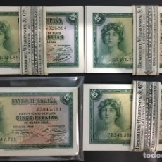 Billetes españoles: 4 BILLETES 5 PESETAS 1935 SERIES F,G,J,K EXTRAÍDO TACO PLANCHA NUNCA CIRCULARON. Lote 133173214