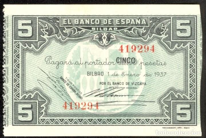 BILLETE 5 PESETAS. BANCO DE ESPAÑA DE BILBAO. EMISIÓN DE 1 DE ENERO DE 1937. MBC+. (Numismática - Notafilia - Billetes Españoles)