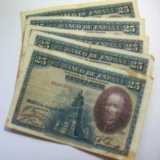 Billetes españoles: LOTE DE 5 BILLETES DE 25 PESETAS 1928 CIRCULADOS. Lote 147553049