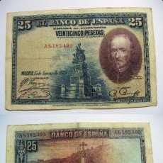 Billetes españoles: BILLETE DE 25 PESETAS 1928 SERIE A CIRCULADO. Lote 63394732