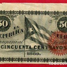 Billetes españoles: BILLETE 50 CENTAVOS REPUBLICA DE CUBA 1869 , EPOCA ESPAÑOLA, LETRA C , EBC-. Lote 64030791