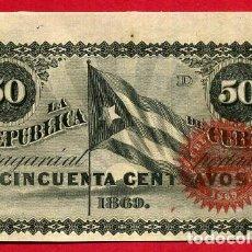 Billetes españoles: BILLETE 50 CENTAVOS REPUBLICA DE CUBA 1869 , EPOCA ESPAÑOLA, LETRA D , EBC-. Lote 64030827