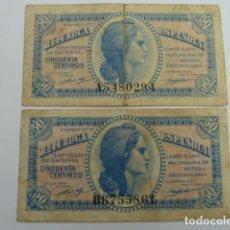 Billetes españoles: LOTE DE 2 BILLETES DE 50 CENTIMOS DE 1937 SERIES A Y B, REPUBLICA ESPAÑOLA. Lote 64789355