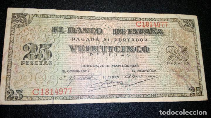 BILLETE DE 25 PESETAS. 20.05.1.938 SERIE C BUEN ESTADO. COLECCION. FOTOS Y DESCRIPCION. AUTENTICO. (Numismática - Notafilia - Billetes Españoles)