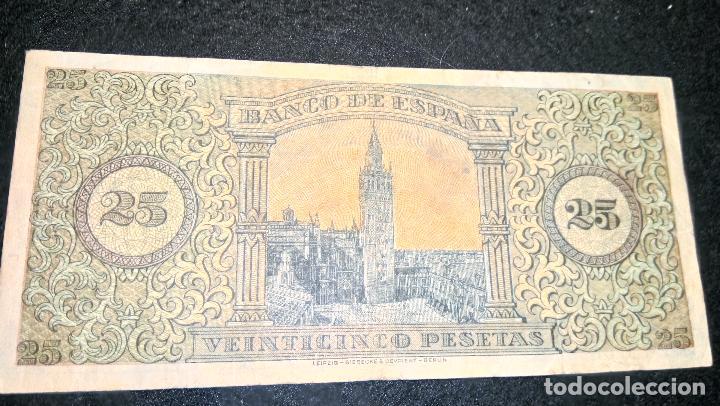 Billetes españoles: BILLETE DE 25 PESETAS. 20.05.1.938 SERIE C BUEN ESTADO. COLECCION. FOTOS Y DESCRIPCION. AUTENTICO. - Foto 3 - 64853219