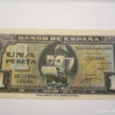 Billetes españoles: 1 PESETA DE 1940 SEPTIEMBRE SERIE C-383 SIN CIRCULAR-. Lote 66164326