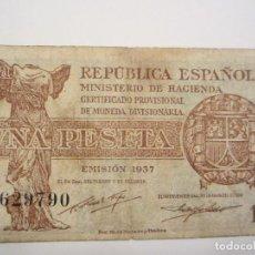 Billetes españoles: 1 PESETA DE 1937 REPÚBLICA SERIE C-790 MUY RARA . Lote 66179642