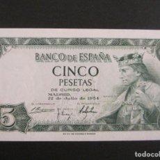 Billetes españoles: 5 PESETAS DE 1954 SERIE H-482 SIN CIRCULAR. Lote 66180478