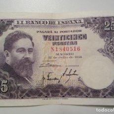 Billetes españoles: 25 PESETAS DE 1954 SERIE N-516. Lote 66261394