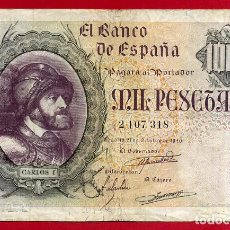 Billetes españoles: BILLETE 1000 PESETAS OCTUBRE 1940 , EBC , SIN SERIE , ORIGINAL, T318. Lote 66935114